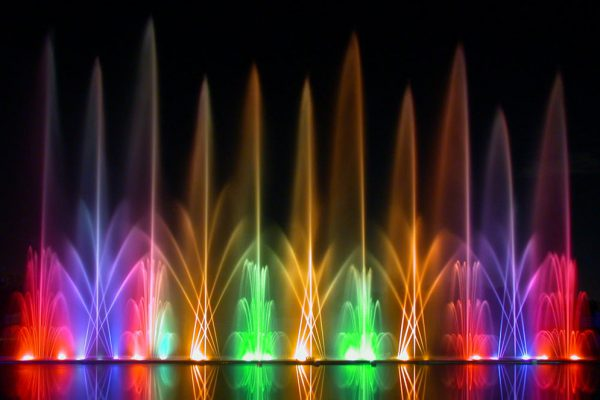 water fountains with lights